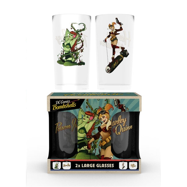 Dc Comics Large Glass Twin Pack Ivy & Harley Sparkle Gift