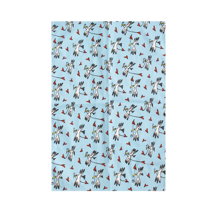 Gallery Thea Tea Towel Gull & Heart Blue Sparkle Gift