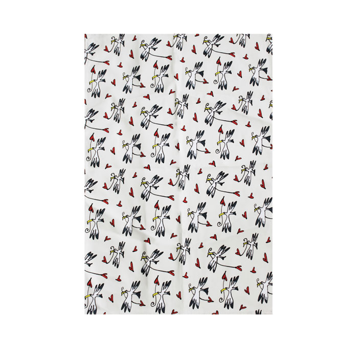Gallery Thea Tea Towel Gull & Heart Ivory Sparkle Gift