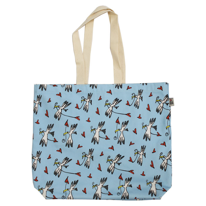 Gallery Thea Luxury Lined Shopper Gull & Heart Blu Sparkle Gift