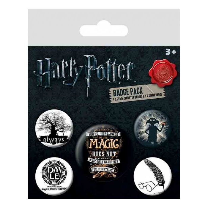 Harry Potter Badge Pack Symbols Set of 5 Sparkle Gift