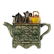 Teapot French Stove Green Medium Sparkle Gift