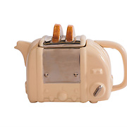 Teapot Toaster Retro Cream Medium Sparkle Gift
