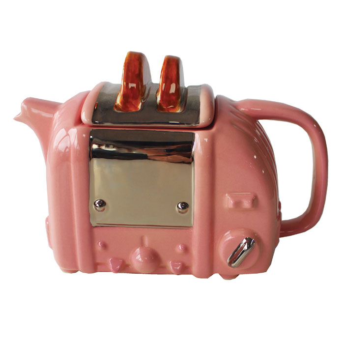 Teapot Toaster Retro Pink Medium Sparkle Gift