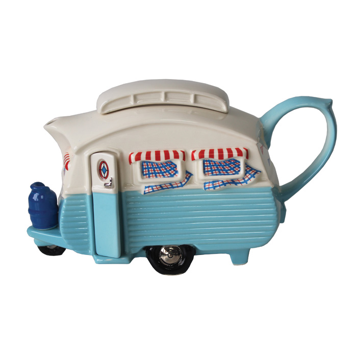 Teapot Touring Caravan Blue Limited Edition Sparkle Gift