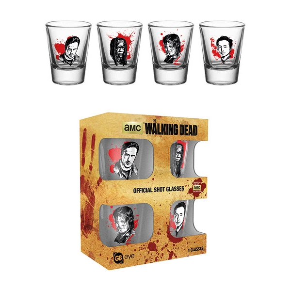Walking Dead Shot Glasses Characters Set of 4 Sparkle Gift