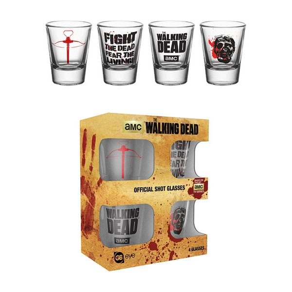 Walking Dead Shot Glasses Symbols Set of 4 Sparkle Gift