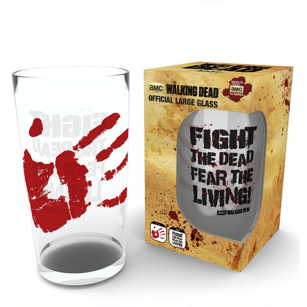 Walking Dead Large Glass Fight The Dead Sparkle Gift