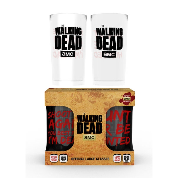 Walking Dead Large Glass Twin Pack Type Sparkle Gift