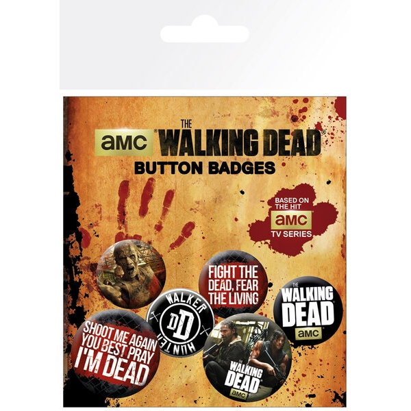 Walking Dead Badge Pack Phrases Set of 6 Sparkle Gift
