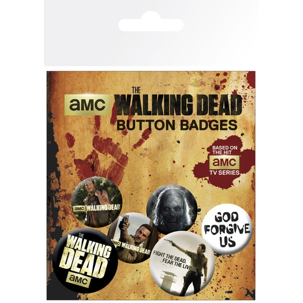 Walking Dead Badge Pack Set of 6 Sparkle Gift