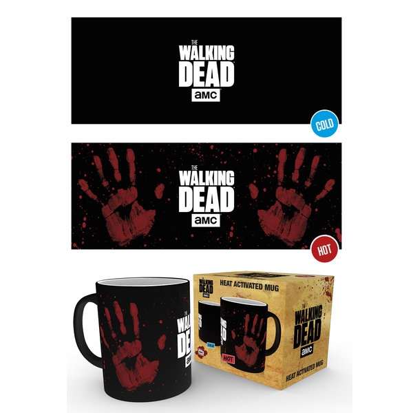 Walking Dead Heat Change Mug Hand Print Sparkle Gift