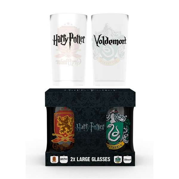Harry Potter Large Glass Twin Pack Crests Sparkle Gift