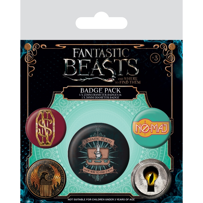 Fantastic Beasts Badge Pack Set of 5 Sparkle Gift