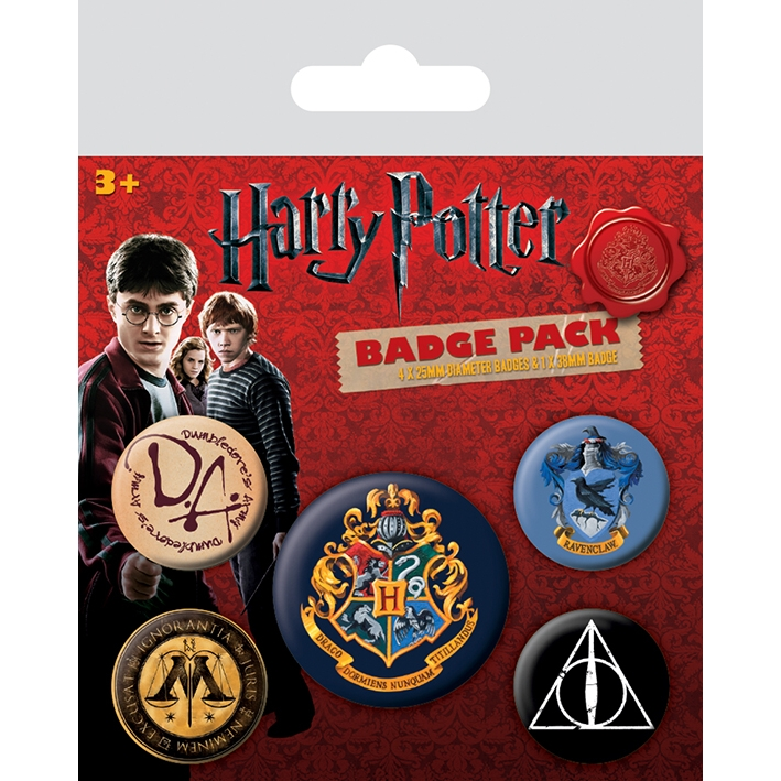 Harry Potter Badge Pack Hogwarts Set of 5 Sparkle Gift