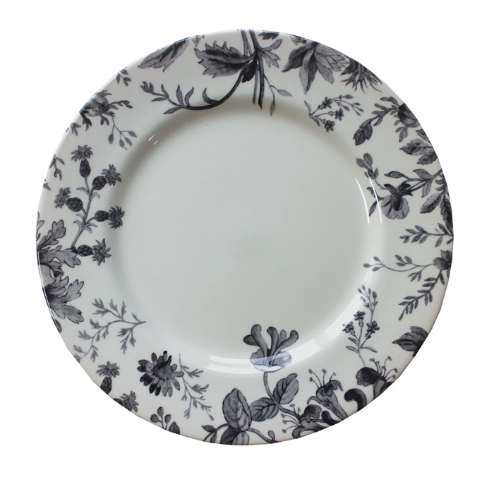 Royal Staff Floral Weave Dinner Plate Black Bord 6 Sparkle Gift