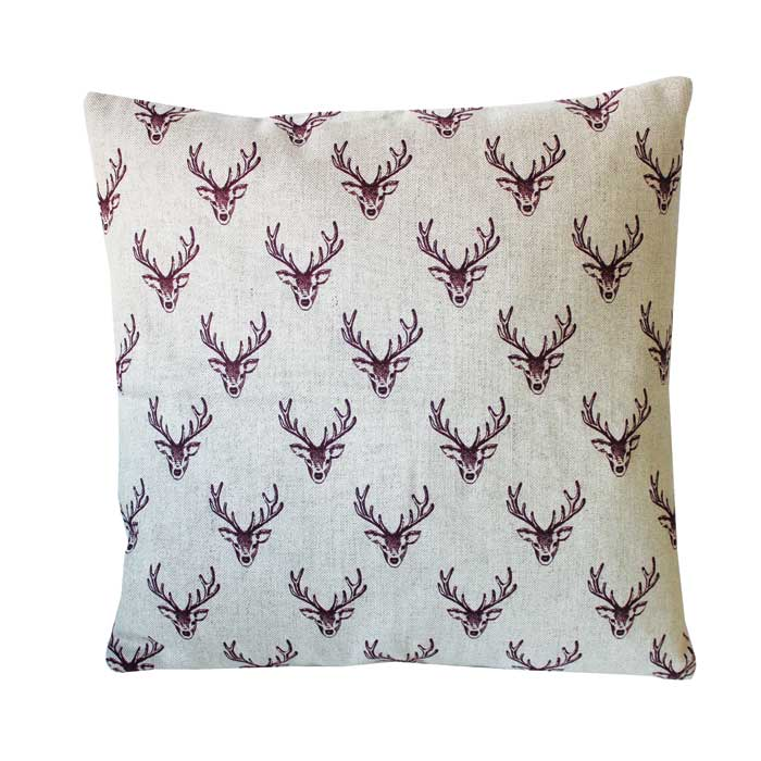 Woodland Trust Stag Cushion Cover Repeat Linen               Sparkle Gift
