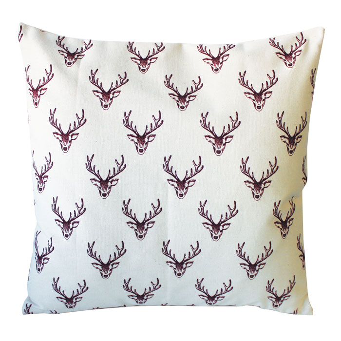 Woodland Trust Stag Cushion Cover Repeat Panama              Sparkle Gift