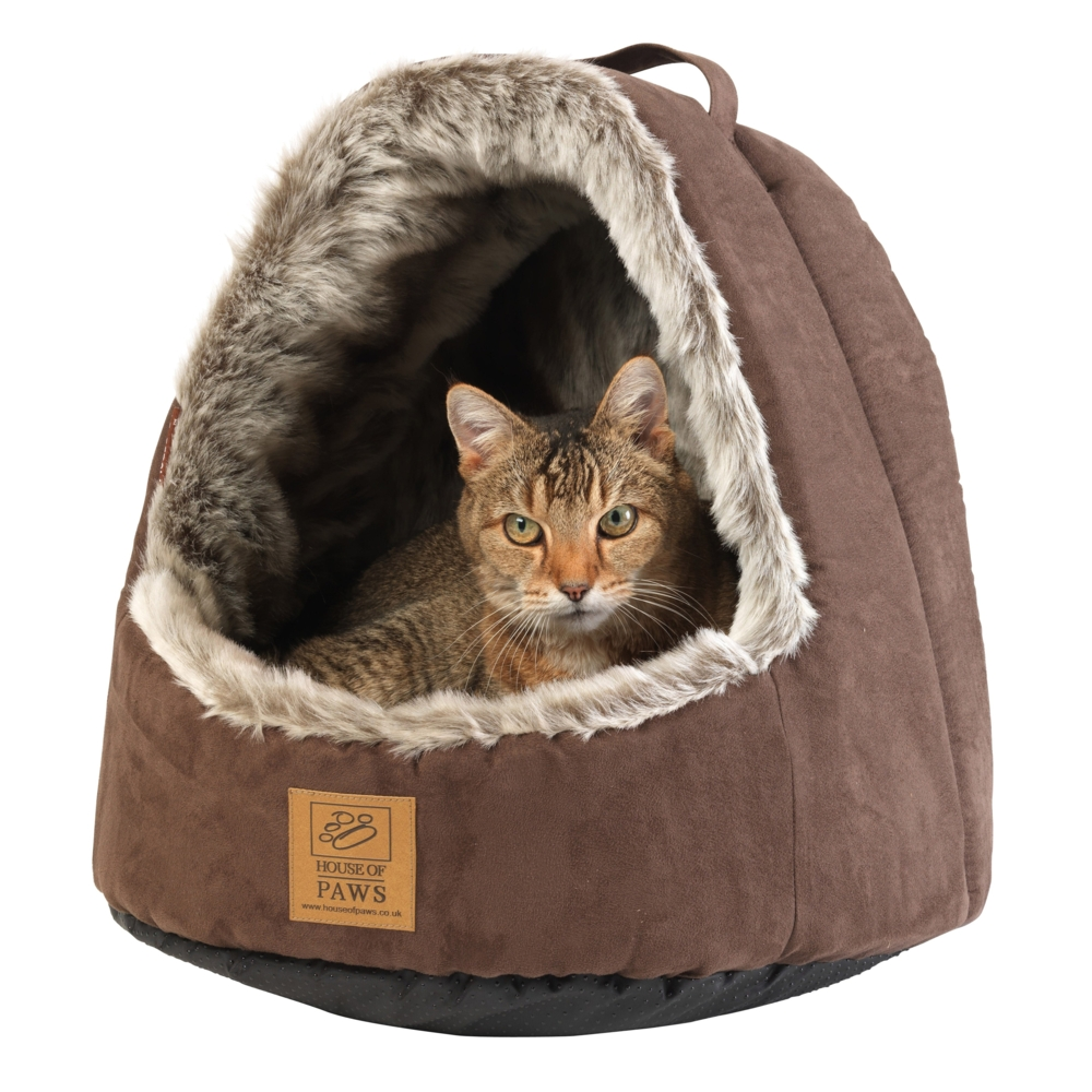 House of Paws Faux Arctic Fox Hooded Cat Bed Sparkle Gift