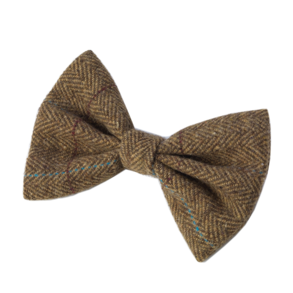 House of Paws Brown Tweed Dog Bow Tie Sparkle Gift