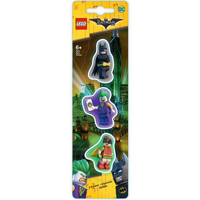 Lego Batman Eraser Set Batman / Joker / Robin Sparkle Gift
