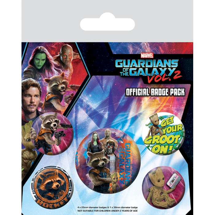 Marvel Badge Pack Guardians Vol. 2 Rocket & Groot Sparkle Gift