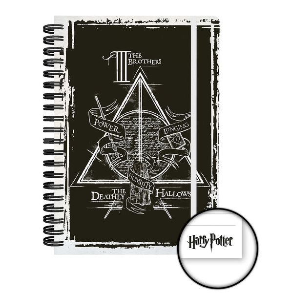 Harry Potter A5 Notebook Deathly Hallows Sparkle Gift