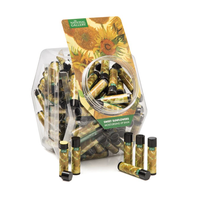 National Gallery Lip Balm Sunflowers Bucket of 100 Sparkle Gift