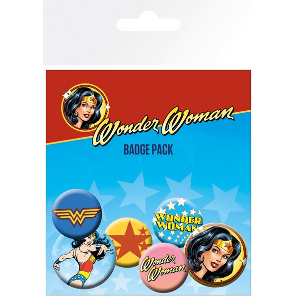 Wonder Woman Badge Pack Mix Set of 6 Sparkle Gift