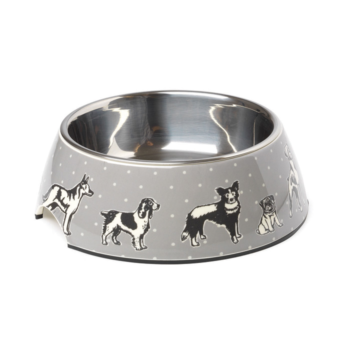 House of Paws Polka Dogs Print Bowl Medium Sparkle Gift