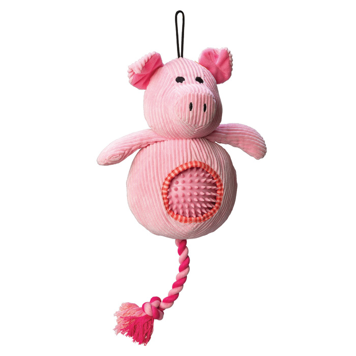 House of Paws Pig Cord Toy With Spiky Ball Sparkle Gift