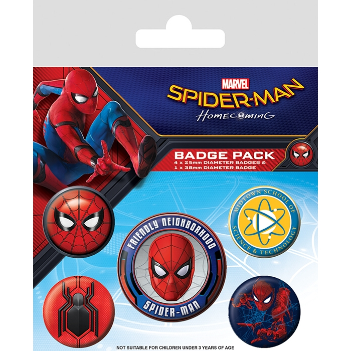 Marvel Badge Pack Spider-Man Homecoming Set of 5 Sparkle Gift