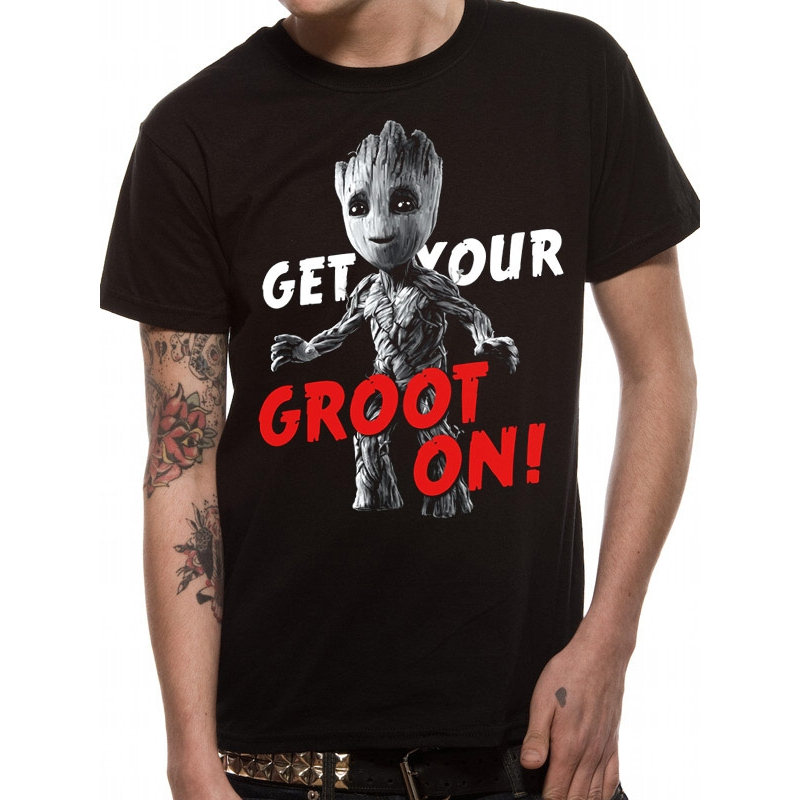 Marvel T Shirt Guardians Vol 2 Groot On Mens Lrg Sparkle Gift