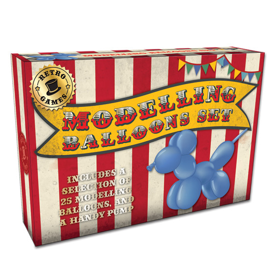 Vintage Red Modelling Balloons Set In A Box Sparkle Gift