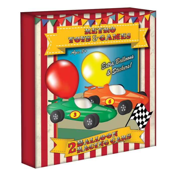 Vintage Red Balloon Racing Cars Pack of 2 Sparkle Gift