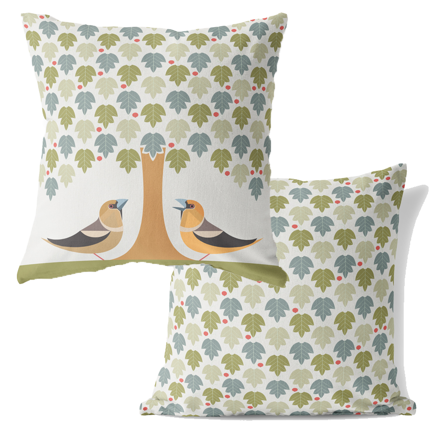 I Like Birds Cushion Hawfinch                                Sparkle Gift