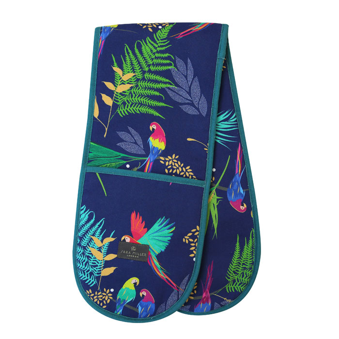 Sara Miller Double Oven Glove Parrot Repeat Sparkle Gift