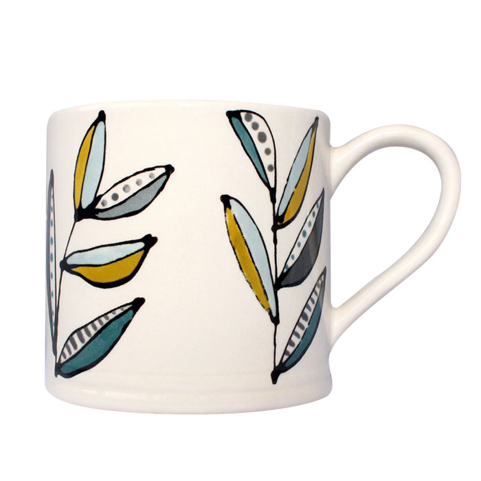 Gallery Thea Flora Large Mug Leaf Single Sparkle Gift