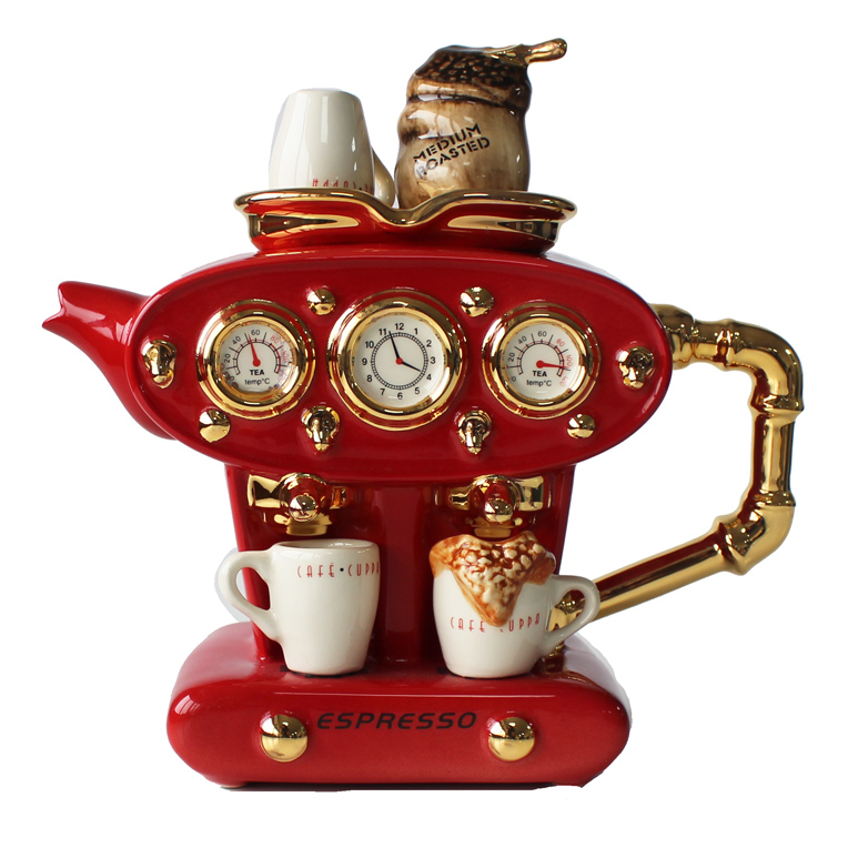 Teapot Double Espresso Red Large Sparkle Gift
