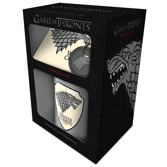 Game of Thrones Mug, Coaster & Keyring Stark Sparkle Gift