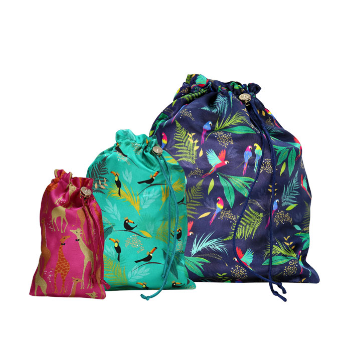 Sara Miller 3 Travel Bags Tropical Sparkle Gift