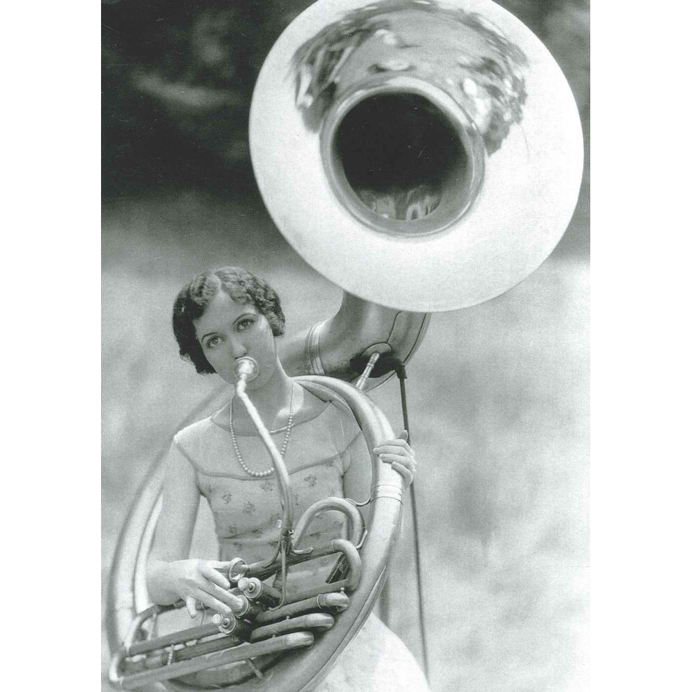 Greetings Card The Tuba Player 1920s Sparkle Gift