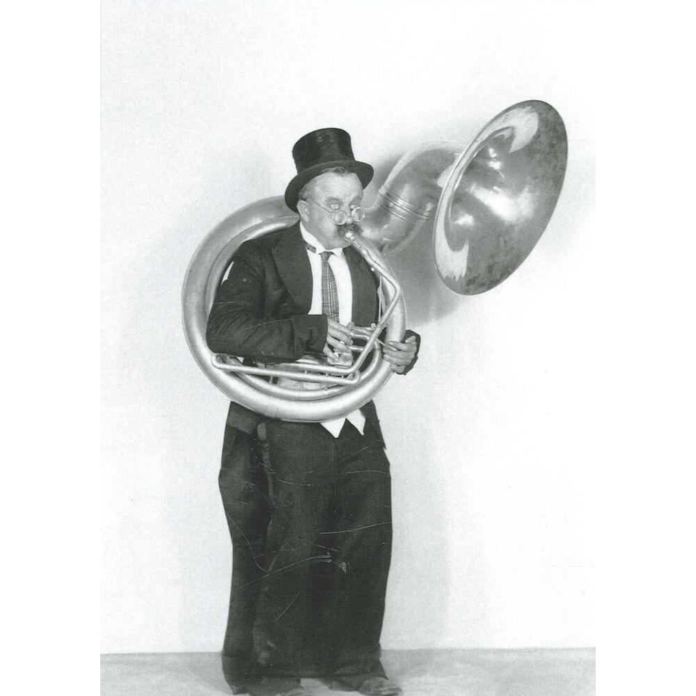 Greetings Card Playing The Tuba In A Top Hat 1920s Sparkle Gift