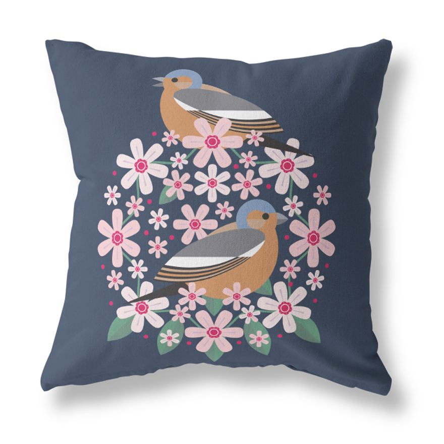 I Like Birds Blooms Cushion Cover Chaffinch Sparkle Gift