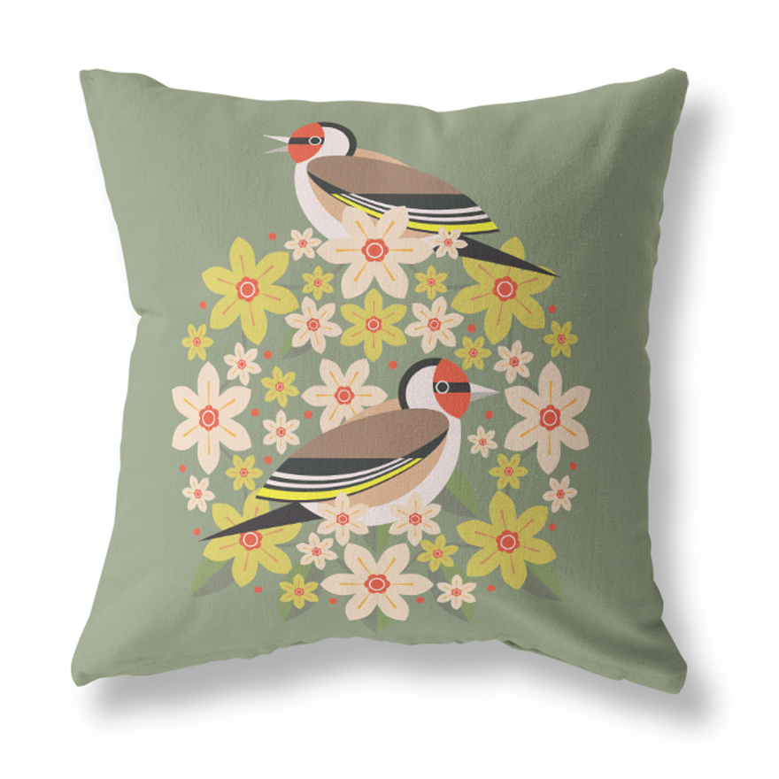 I Like Birds Blooms Cushion Cover Goldfinch Sparkle Gift