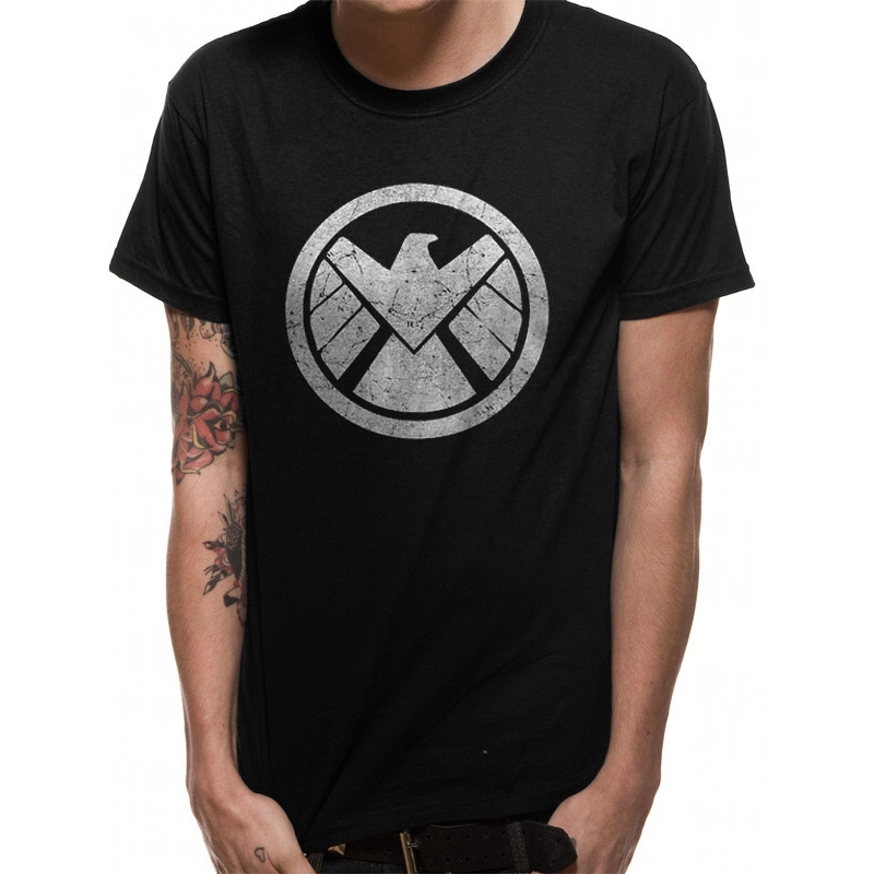 Marvel T Shirt Shield Logo Mens Large Sparkle Gift