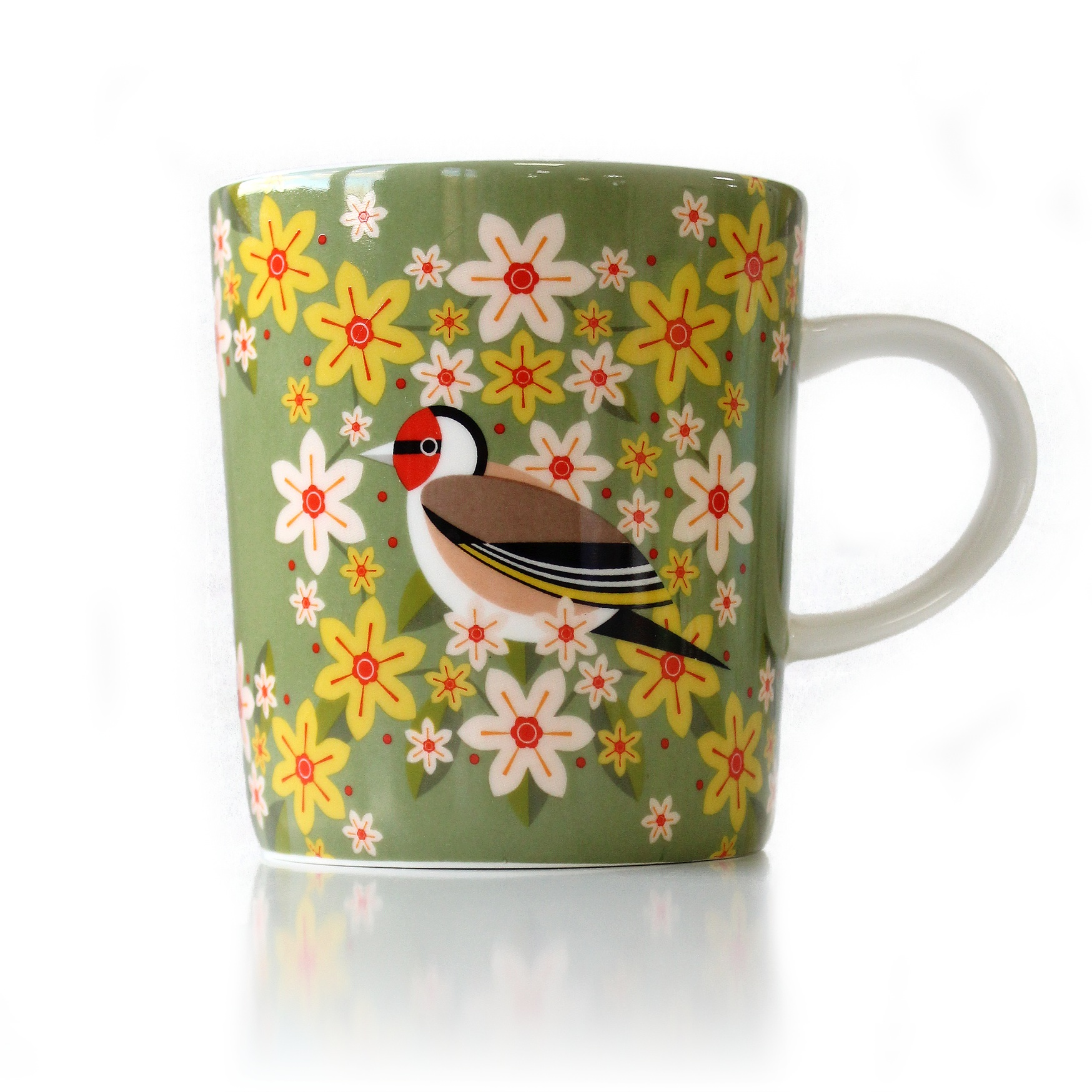 I Like Birds Blooms Mug Goldfinch Sparkle Gift