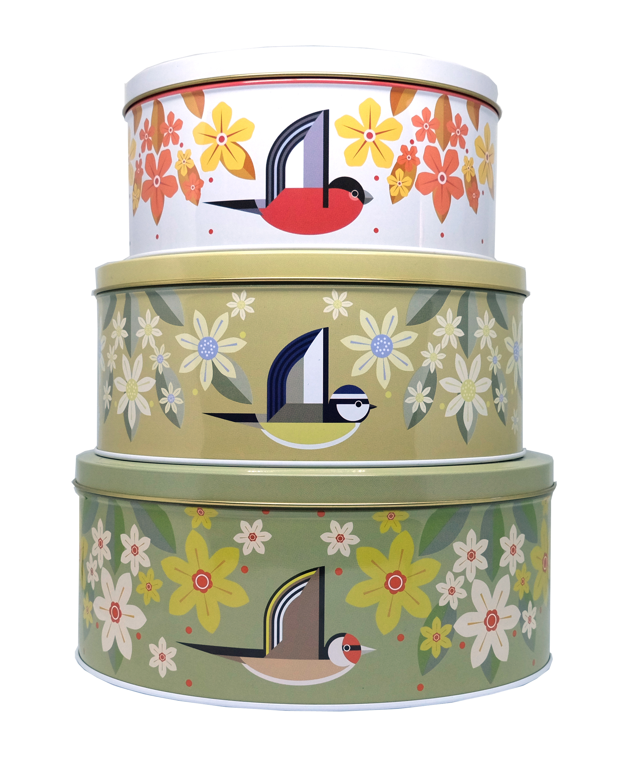 I Like Birds Blooms Cake Tin Set 3 Designs Sparkle Gift