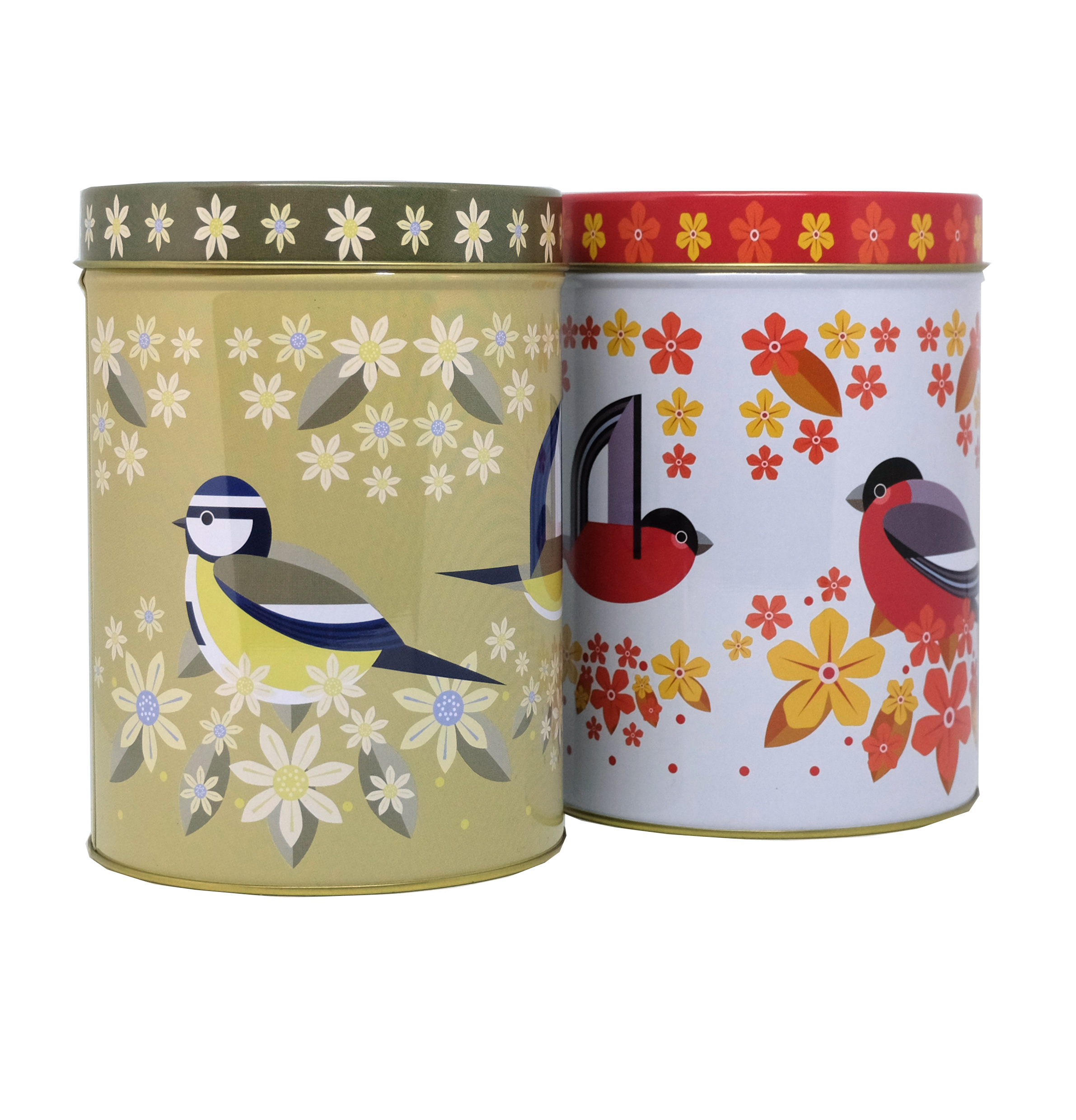 I Like Birds Blooms Tea Caddy Tins X2 Sparkle Gift