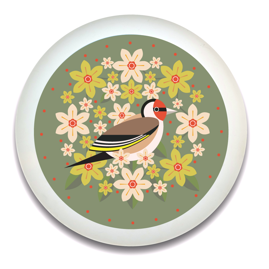 I Like Birds Blooms Round Bamboo Tray Goldfinch Sparkle Gift